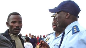 Rhadebe in 2008, negotiating with police. Photo: John Clarke
