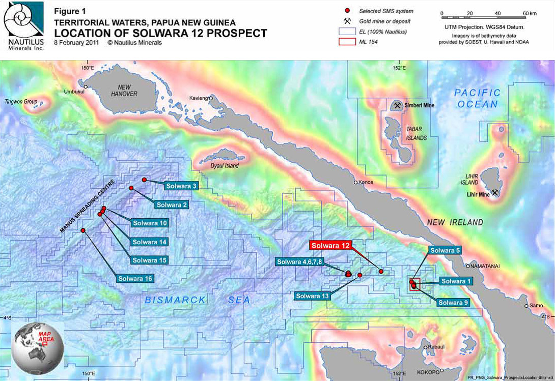 Map illustrating location of Nautilus Minerals Solwara 1 Project and other Solwara Prospects. Photo credit: Nautilus Inc.